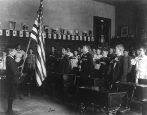 School children reciting the Pledge of Allegiance in 1899